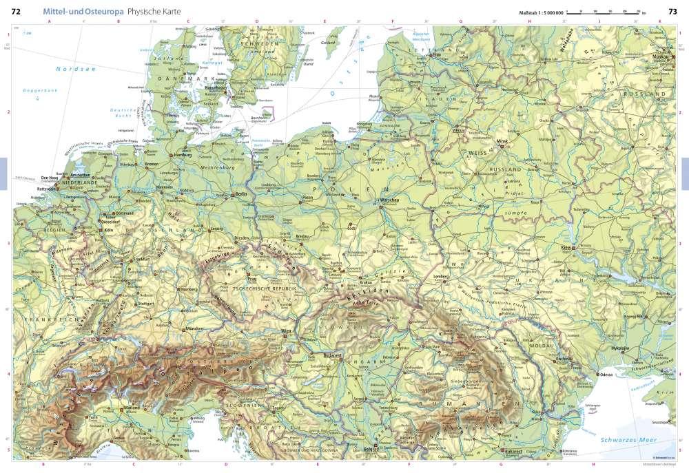 osteuropa karte Physische Karte   Mittel  und Osteuropa   Seydlitz Weltatlas