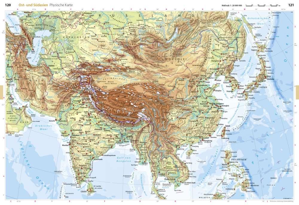 Südasien Karte.Physische Karte Ost Und Südasien Seydlitz Weltatlas Projekt Erde