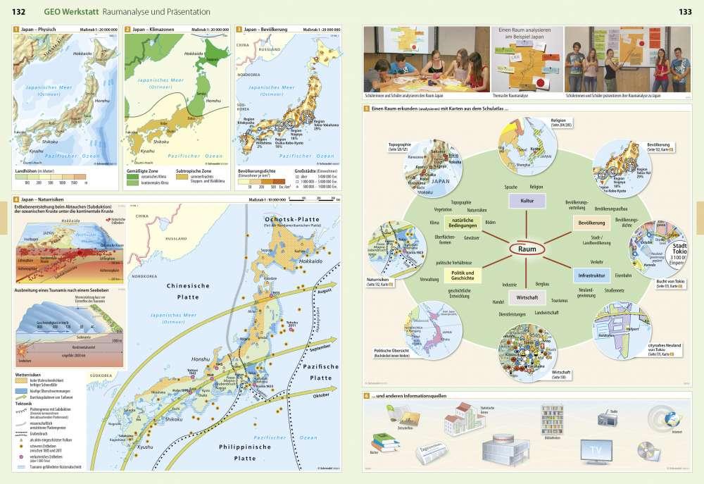 Japan Karte Physisch.Raumanalyse Und Präsentation Geo Werkstatt Seydlitz Weltatlas