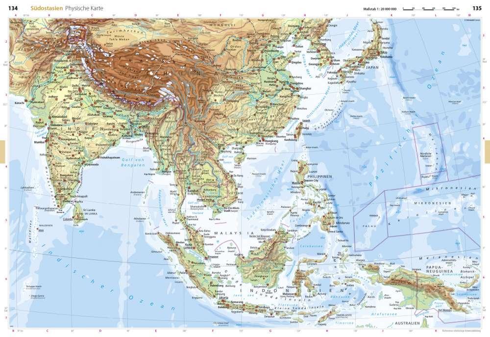 Physische Karte Sudostasien Seydlitz Weltatlas Projekt Erde