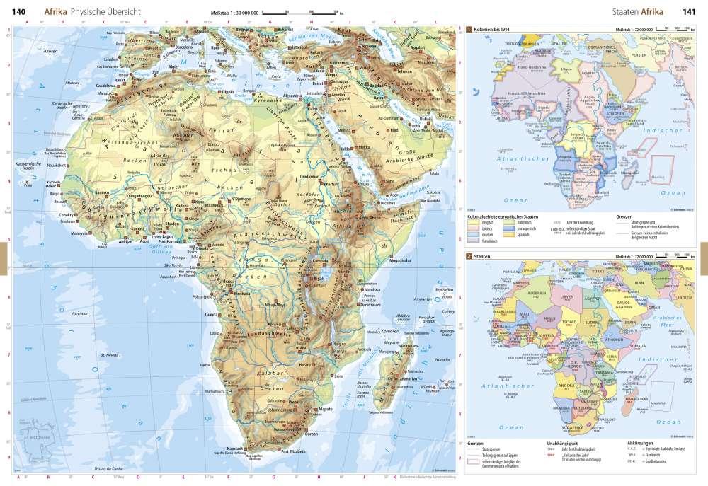 Karte Afrika Kolonien.Physische Ubersicht Staaten Afrika Seydlitz Weltatlas