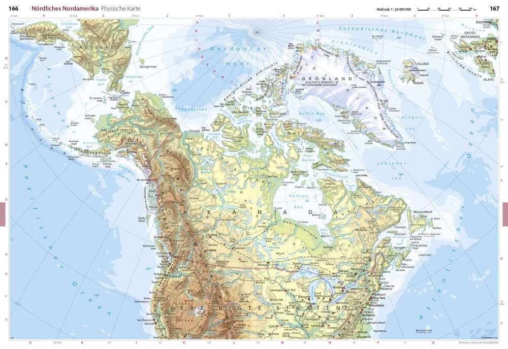 Karte Nordamerikas.Physische Karte Nördliches Nordamerika Seydlitz Weltatlas
