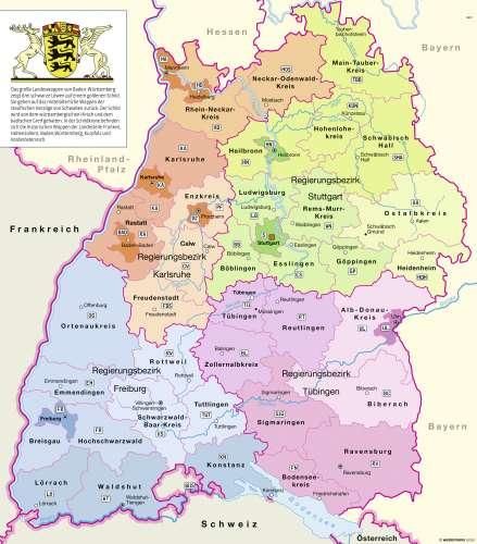 Karte baden württemberg städte in Baden