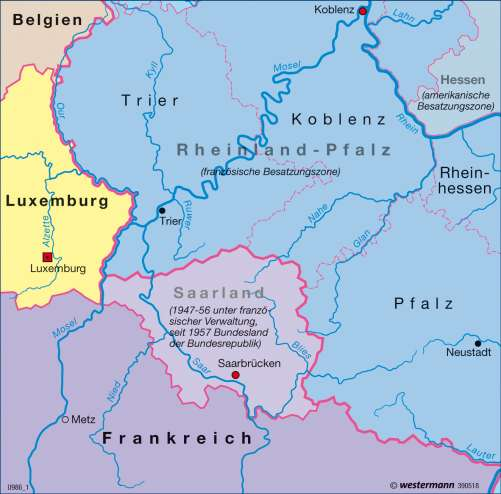 Diercke Karte Saarprotektorat 1945-1956