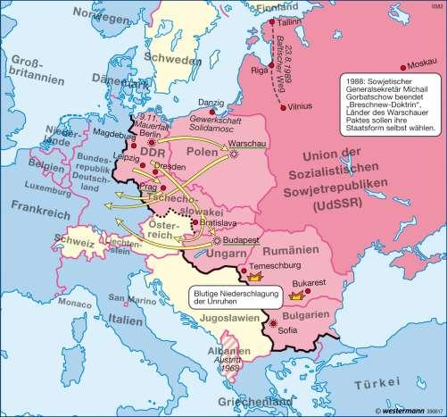 Diercke Karte Europa - Auflösung des Ostblocks 1989