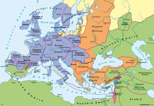 Map Of The Crusades Maps   Europe during the first crusades in the late 12th century