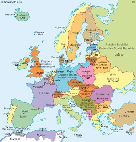 Map Of Europe After Ww1 Maps   Europe after World War One (1920/21)   Diercke