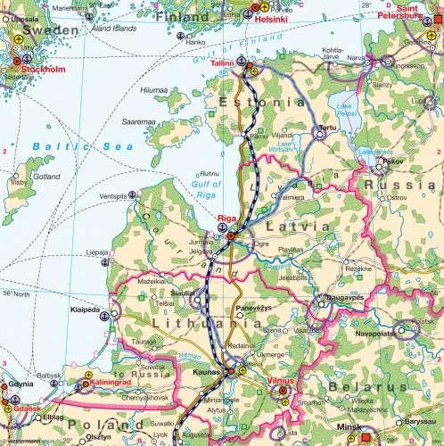 Diercke Karte EU – Infrastructure and development in the Baltic States