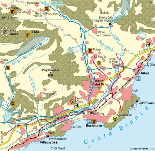Diercke Karte Marina Baja (Alicante Province) – Tourism and water supply