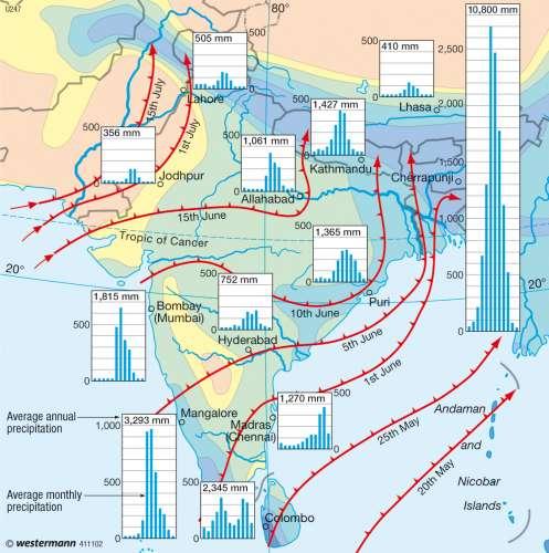 asia karte Maps   South Asia – Monsoon   Diercke International Atlas asia karte