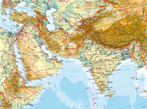 Physical Map Of West Asia Maps   West and South Asia – Physical map   Diercke International