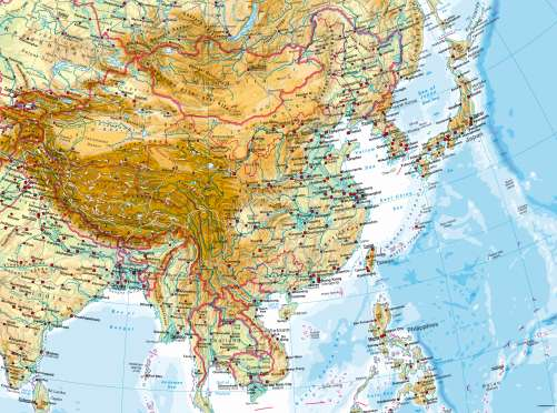 East Asia Physical Map Maps   East Asia – Physical map   Diercke International Atlas