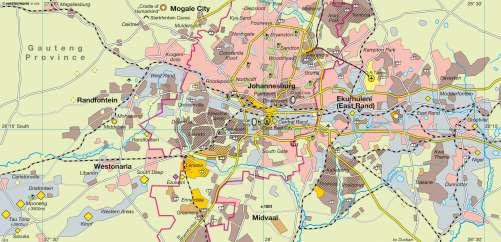 Diercke Karte Johannesburg (South Africa) – Gold mining belt Witwatersrand