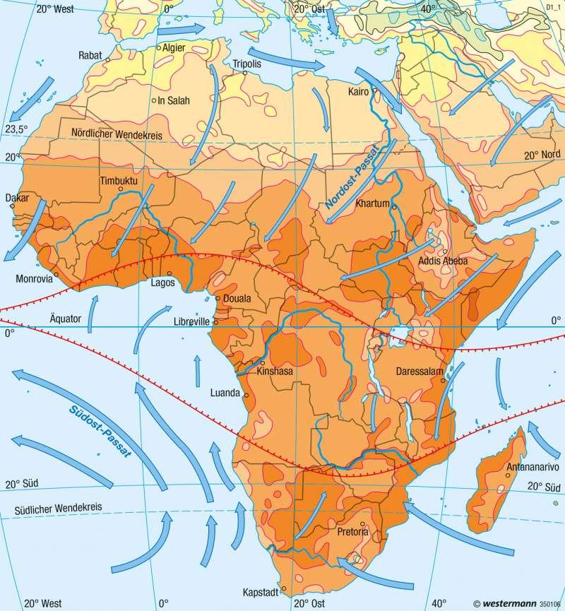 Afrika | Temperaturen im Januar | Afrika - Klima | Karte 148/1