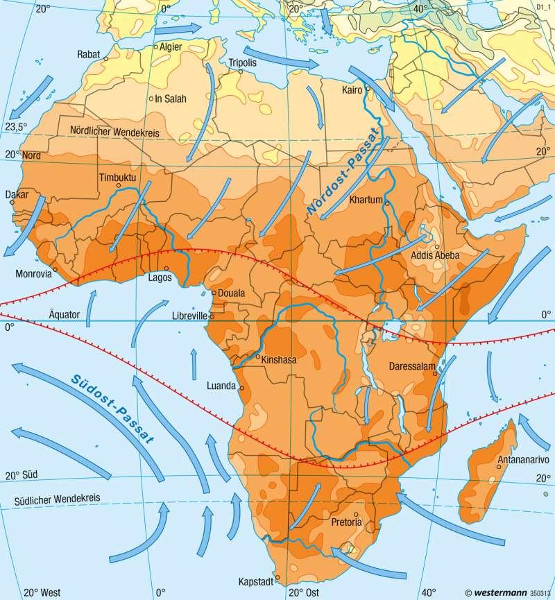Afrika | Temperaturen im Januar | Klima | Karte 98/1