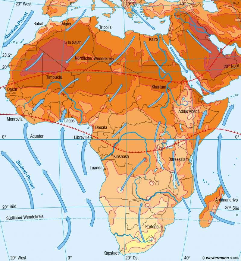 Afrika | Temperaturen im Juli | Afrika - Klima | Karte 148/2