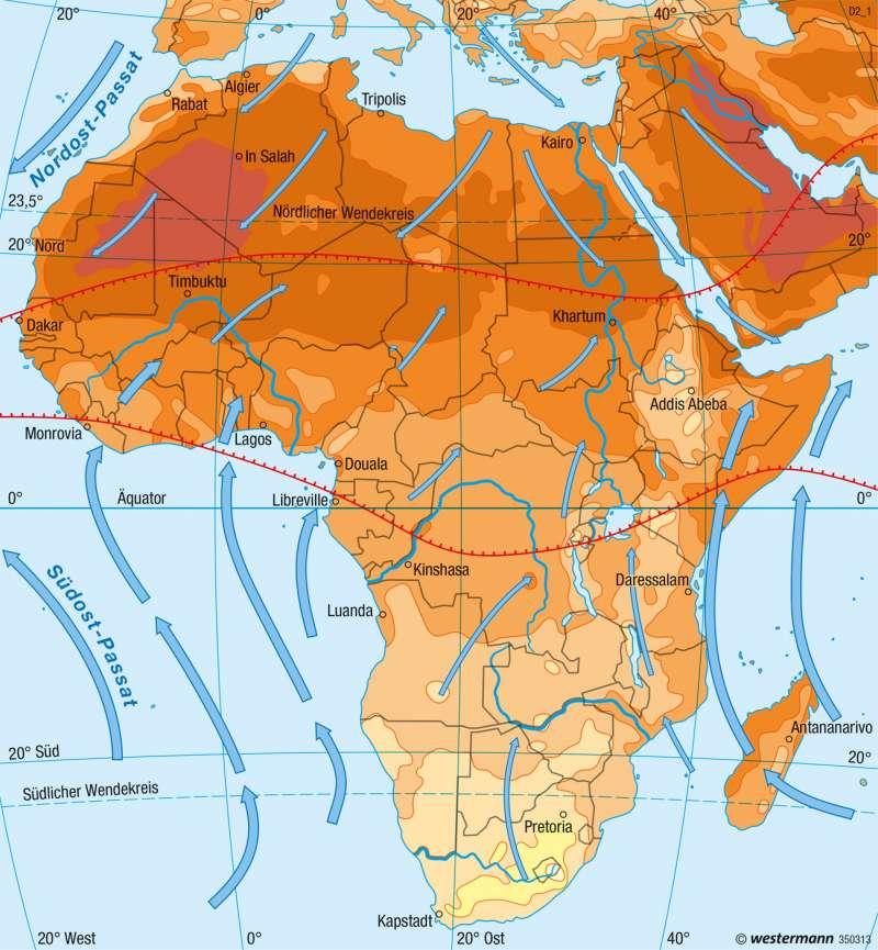 Afrika   Temperaturen im Juli   Klima   Karte 98/2