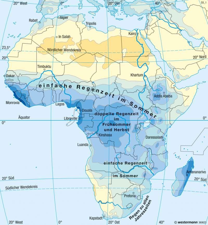 Afrika | Niederschläge im Jahr | Afrika - Klima | Karte 148/3