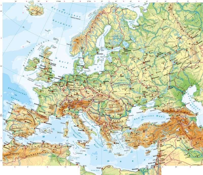 Europa | Physische Übersicht | Europa - Physische Übersicht | Karte 86/1