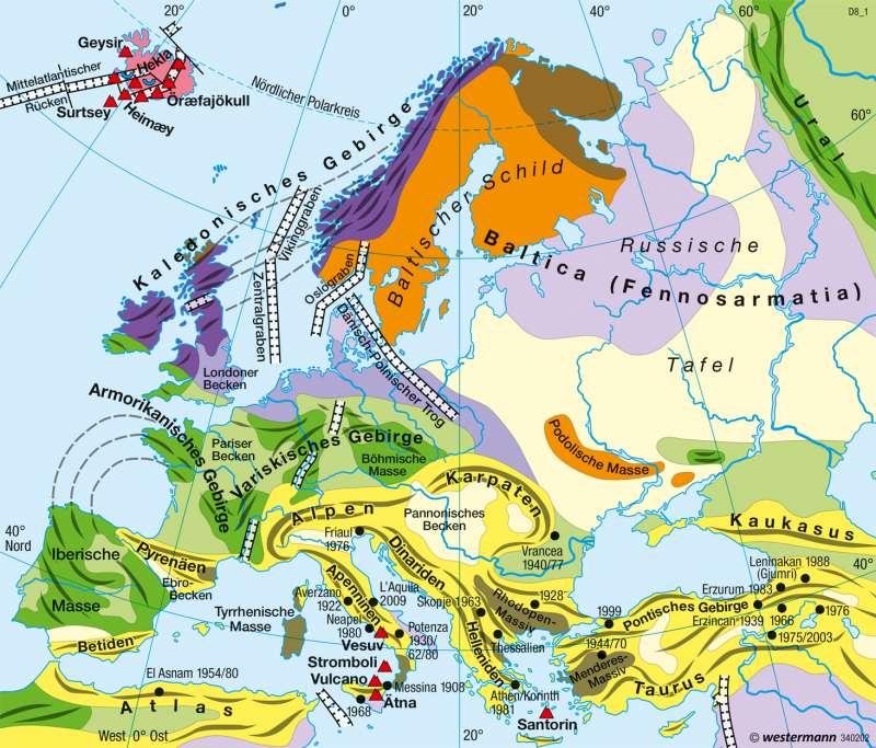 Europa   Tektonik   Physische Übersicht   Karte 57/3