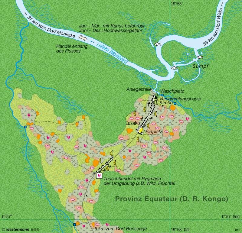 Kongobecken | Landwechselwirtschaft | Afrika - Ökozonale Landnutzung | Karte 150/3