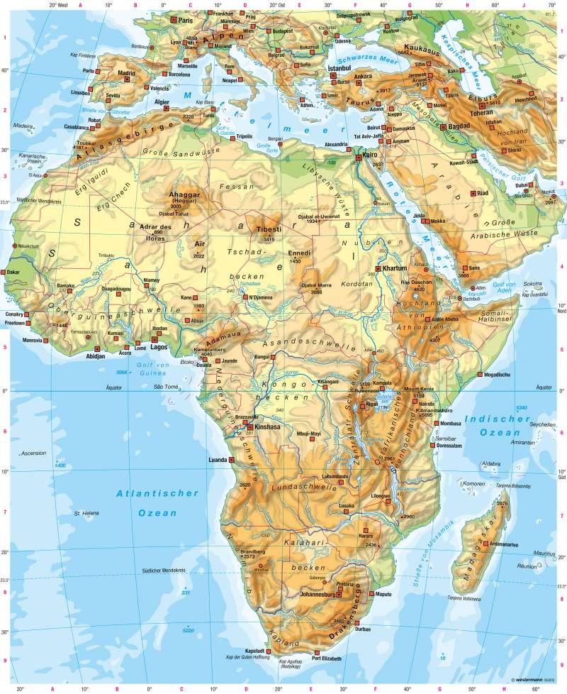 Afrika | Physische Übersicht | Afrika - Staaten und physische Übersicht | Karte 147/5
