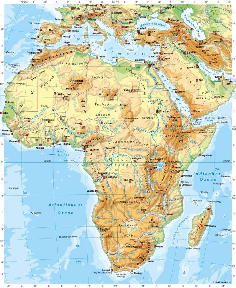 Afrika Karte Deutsch.25 Elegant Afrika Physische Karte Gebirge