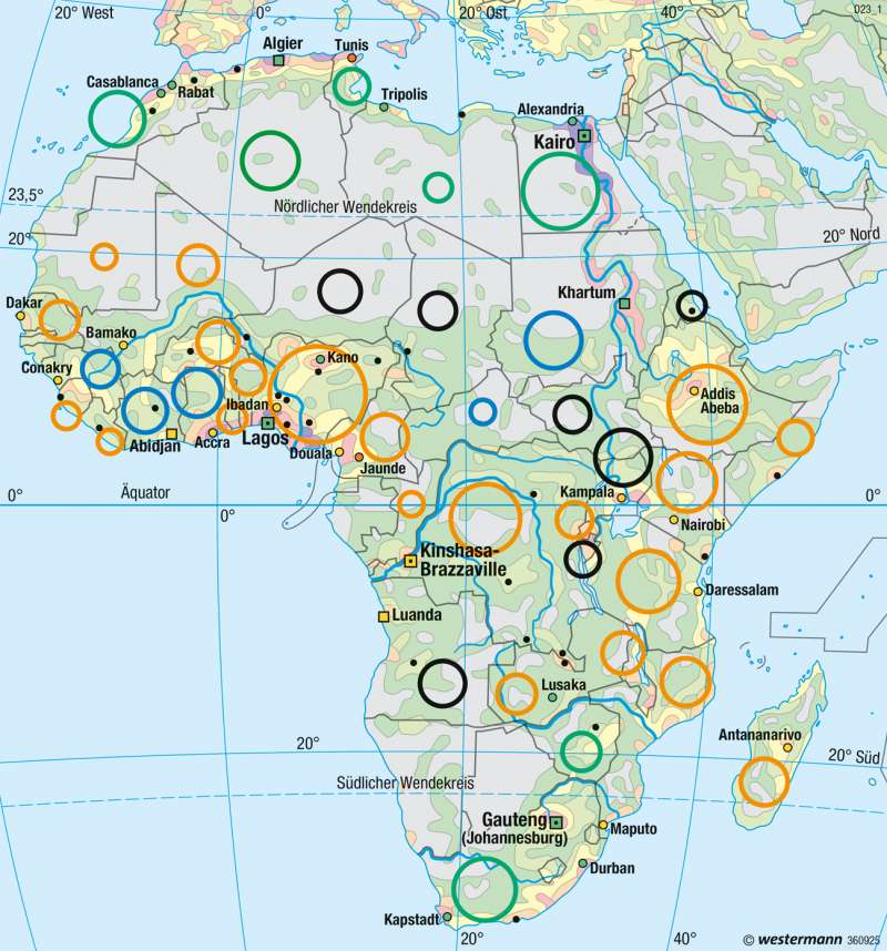 Afrika   Bevölkerung   Afrika - Staaten und physische Übersicht   Karte 146/2