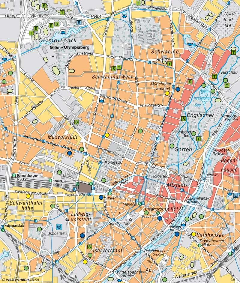 München | Innerstädtische Erholung und Freizeit | München und Alpenvorland | Karte 51/4
