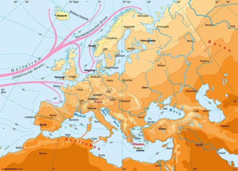 Europa   Temperaturen im Juli   Klima   Karte 58/2
