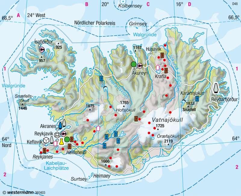 Island | Wirtschaft | Skandinavien, Baltikum - Wirtschaft | Karte 108/1