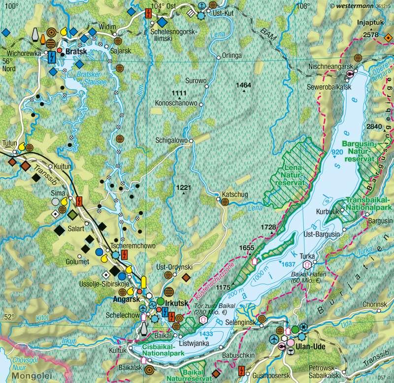Baikalsee | Wirtschaft | Nord- und Zentralasien - Räume im Wandel | Karte 172/2
