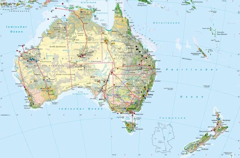 Australien, Neuseeland | Wirtschaft | Australien, Neuseeland - Wirtschaft und Klima | Karte 202/1