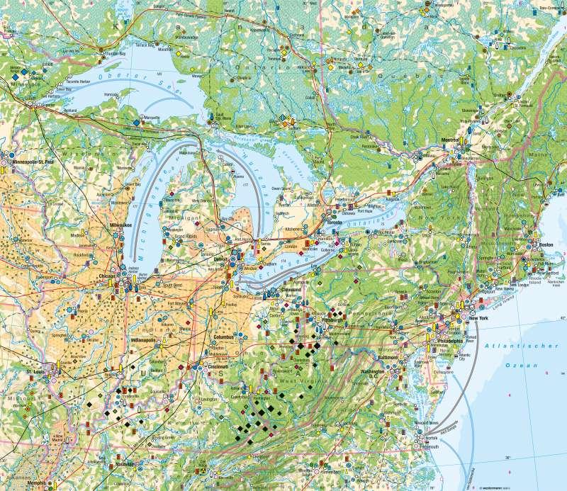 Nordoststaaten der USA | Wirtschaft | Nordoststaaten der USA - Wirtschaft | Karte 216/1