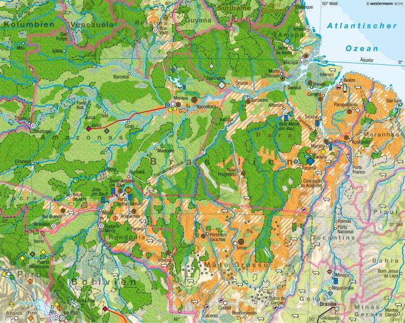 Amazonien | Eingriff in den tropischen Regenwald | Brasilien - Entwicklung und Nachhaltigkeit | Karte 237/4