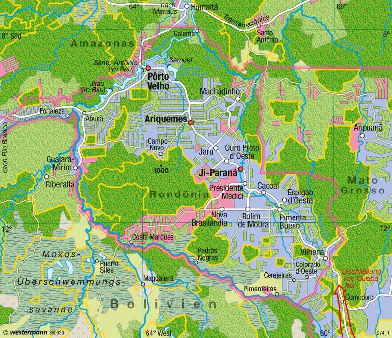 Rondônia | Agrarkolonisation | Brasilien - Entwicklung und Nachhaltigkeit | Karte 237/5