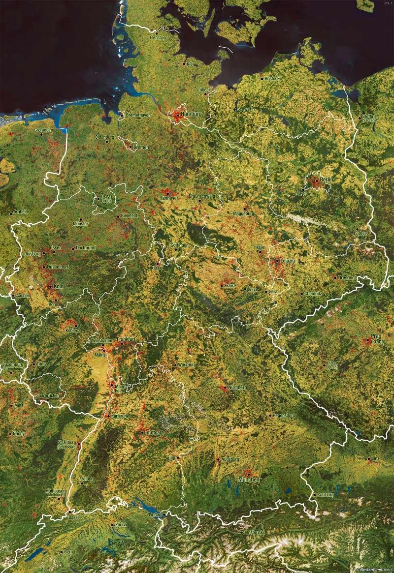 Deutschland | Satellitenbild | Landschaften in Bild und Karte | Karte 22/1