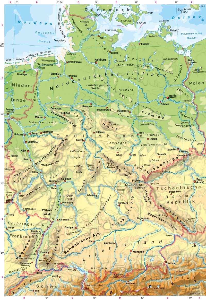 Deutschland | Physische Karte | Landschaften Deutschlands in Bild und Karte | Karte 15/2