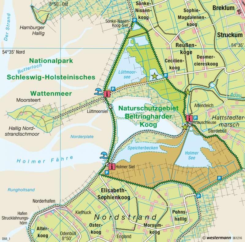 Nordstrander Bucht | Naturschutz | Norddeutschland - Küstenlandschaften und Küstenschutz | Karte 32/2