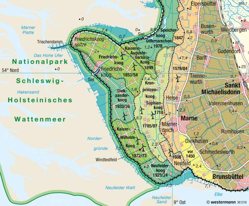 Dithmarschen | Landgewinnung, Küstenschutz | Norddeutschland - Küstenlandschaften und Küstenschutz | Karte 32/3