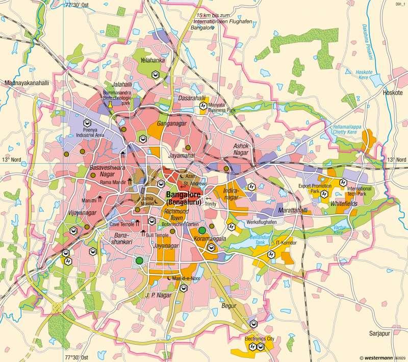 Bangalore (Indien) | Weltmarktintegration und Fragmentierung | Südasien - Vielfalt der Raumstrukturen | Karte 182/3