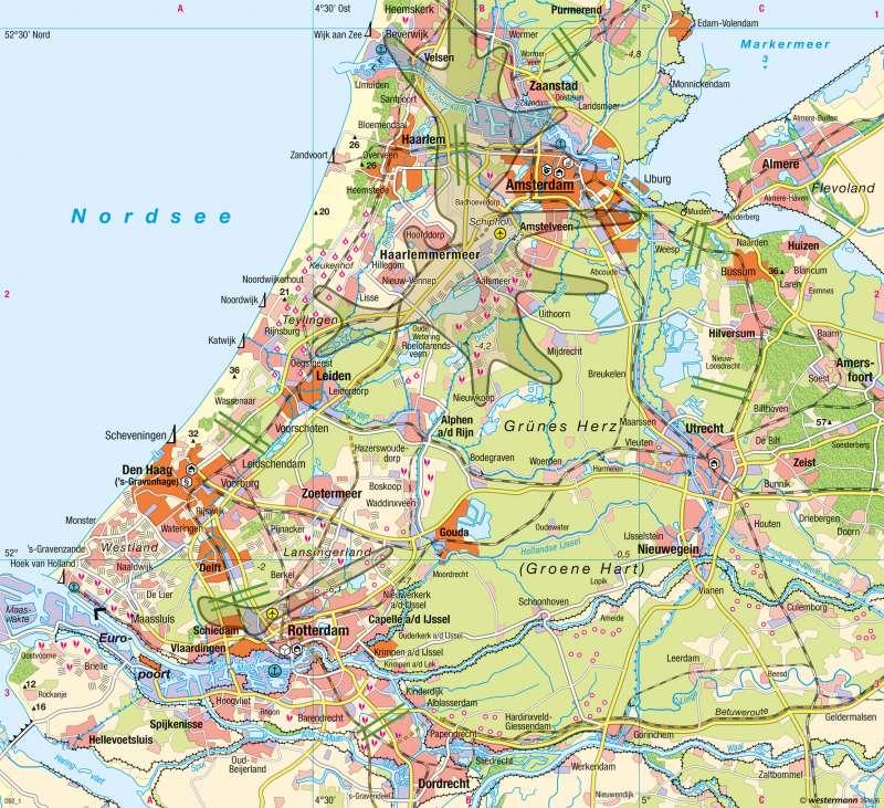 Randstad | Raumstruktur, Raumordnung | Niederlande - Mehrkernballung Randstad | Karte 123/2