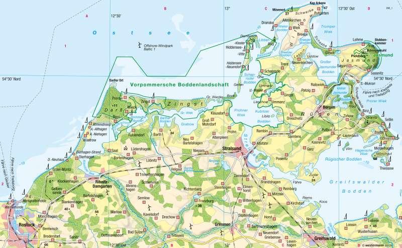 Ostsee Deutschland Karte.Diercke Weltatlas Kartenansicht Ostsee Boddenkuste