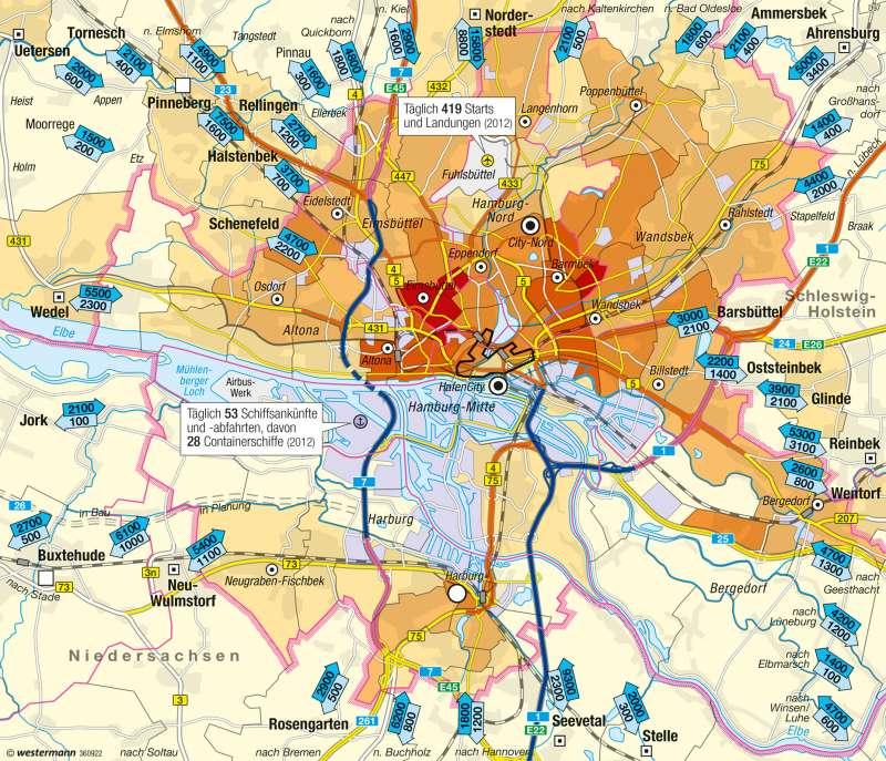 Hamburg | Wohnen, Arbeiten und Verkehr | Hamburg - Hafenstadt | Karte 35/4