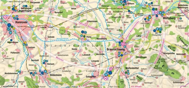 Ost-Niedersachsen | Zulieferer der Automobilindustrie | Industrieraum Braunschweig-Wolfsburg | Karte 37/5