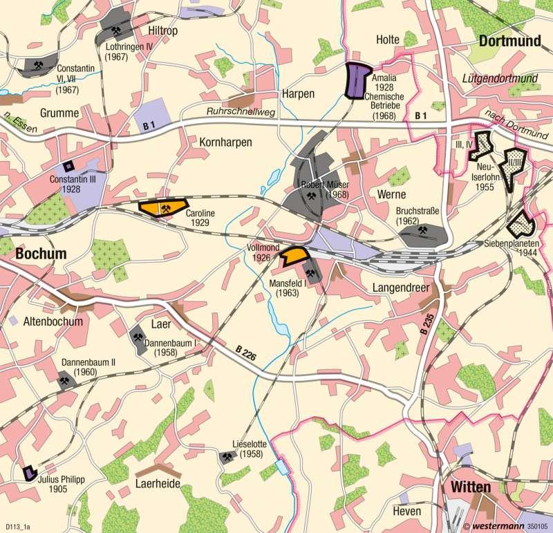 Bochum | Strukturwandel | Ballungsraum Rhein-Ruhr - Strukturwandel | Karte 41/3