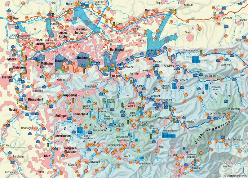 Ruhrgebiet | Wasserwirtschaft | Ballungsraum Rhein-Ruhr - Strukturwandel | Karte 41/4