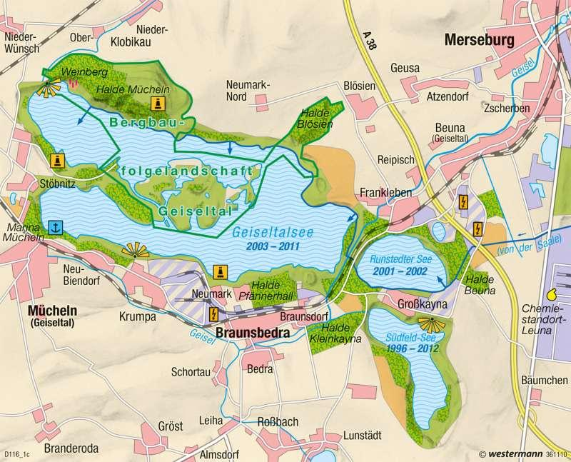 Geiseltal | Landschaftswandel | Wirtschaftsraum Halle-Leipzig - Transformation | Karte 42/3
