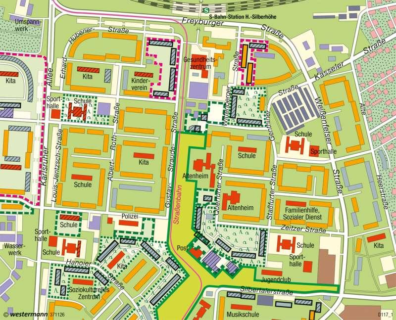 Halle-Silberhöhe | Stadtrückbau | Wirtschaftsraum Halle-Leipzig - Transformation | Karte 43/4