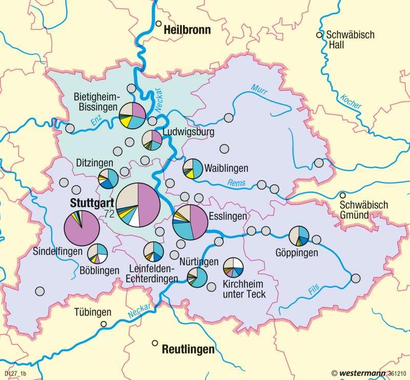 Region Stuttgart | Beschäftigungswandel | Metropolregion Stuttgart | Karte 48/1